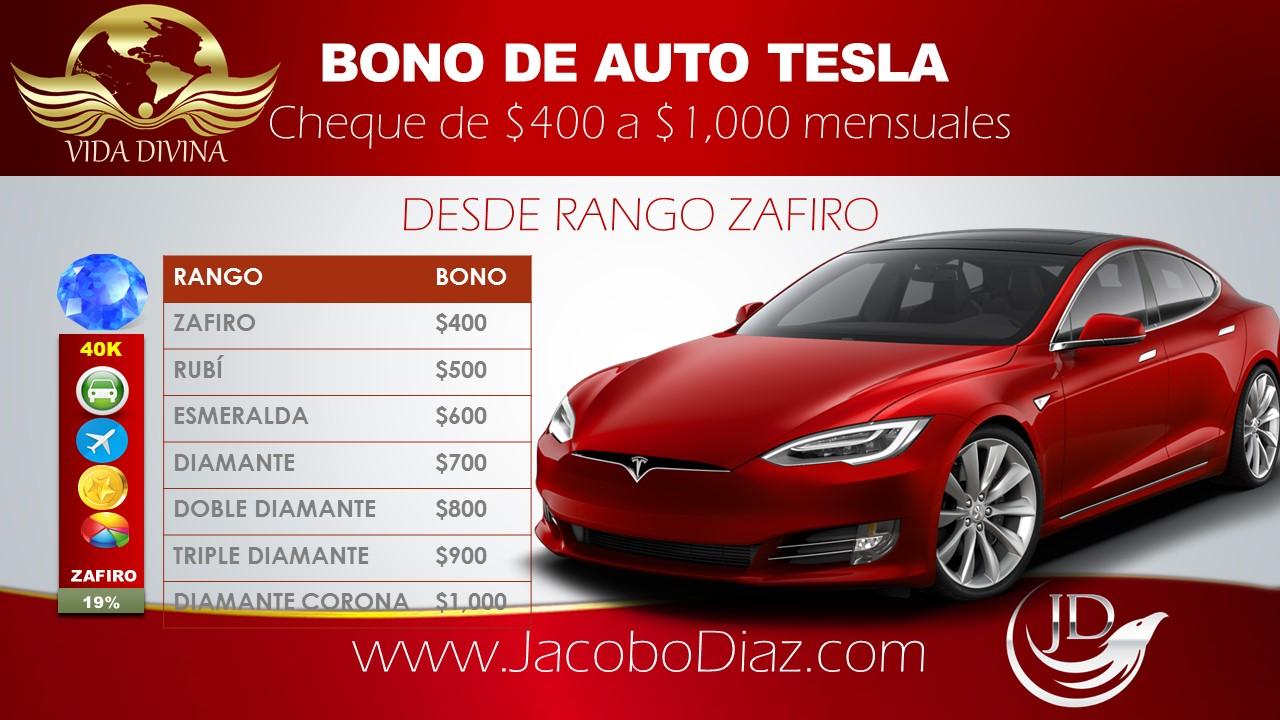Plan de Compensacion Vida Divina Bonos de Estilo de Vida Bono Auto Tesla